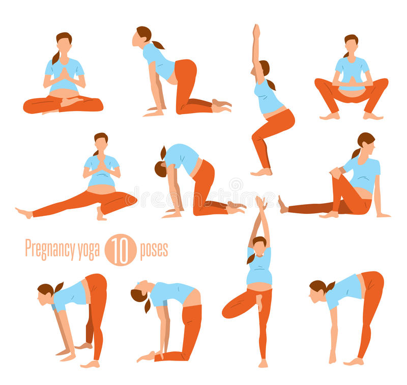 孕妇的瑜伽 库存例证