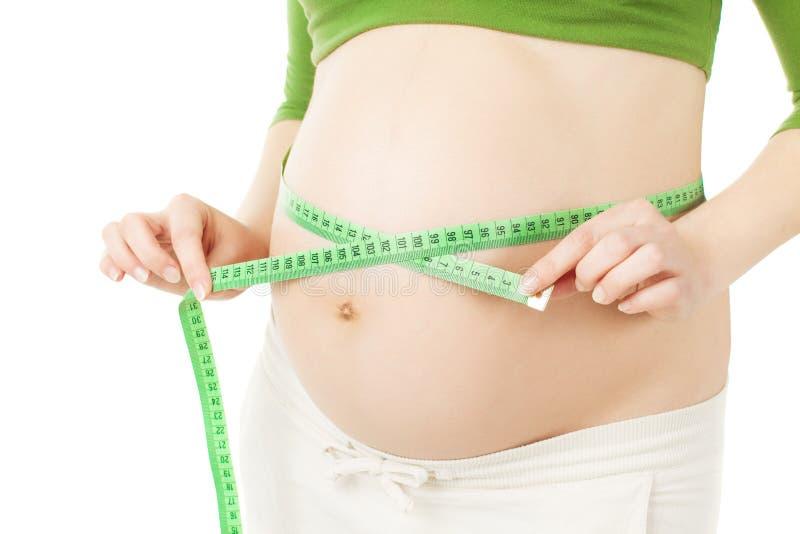 孕妇的腹部有措施的 免版税库存图片