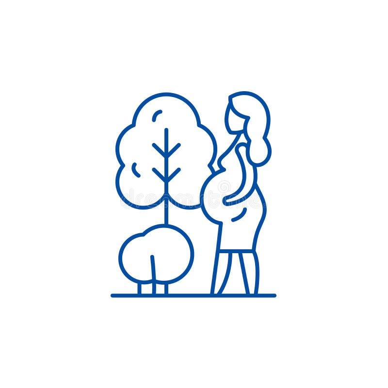 孕妇线象概念 孕妇平的传染媒介标志,标志,概述例证 皇族释放例证