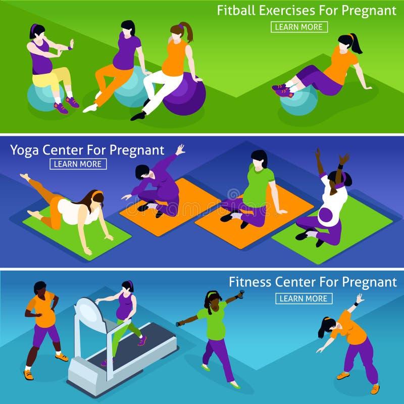 孕妇被设置的健身横幅 库存例证