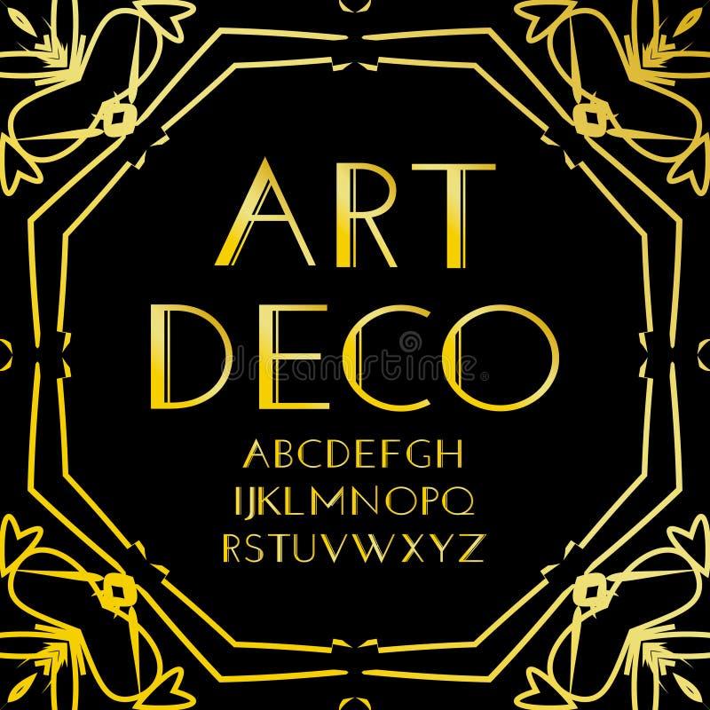 字体传染媒介 艺术装饰葡萄酒字母表、减速火箭的金框架或者边界 在黑背景隔绝的豪华设计abc 为 向量例证