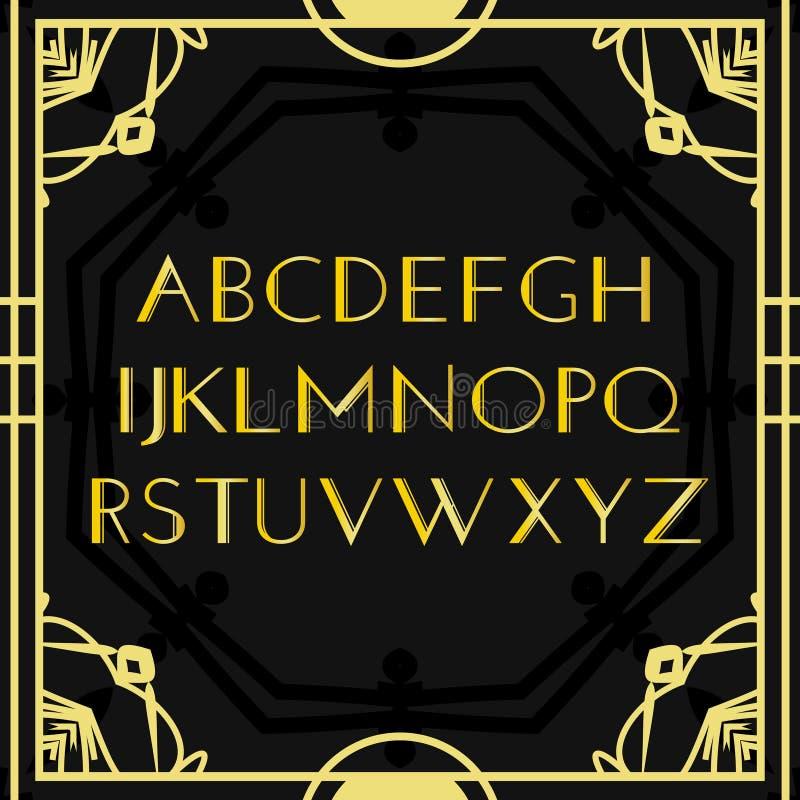 字体传染媒介 艺术装饰葡萄酒字母表、减速火箭的金框架或者边界 在黑背景隔绝的豪华设计abc 为 皇族释放例证