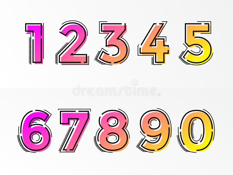 字体号设置了数字信件传染媒介梯度种族分界线 向量例证