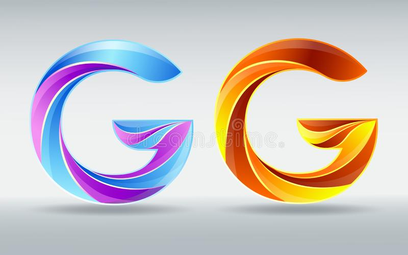 字体商标 传染媒介信件G 创造性的扭转的3D字体 五颜六色的焦糖和紫外颜色 库存例证