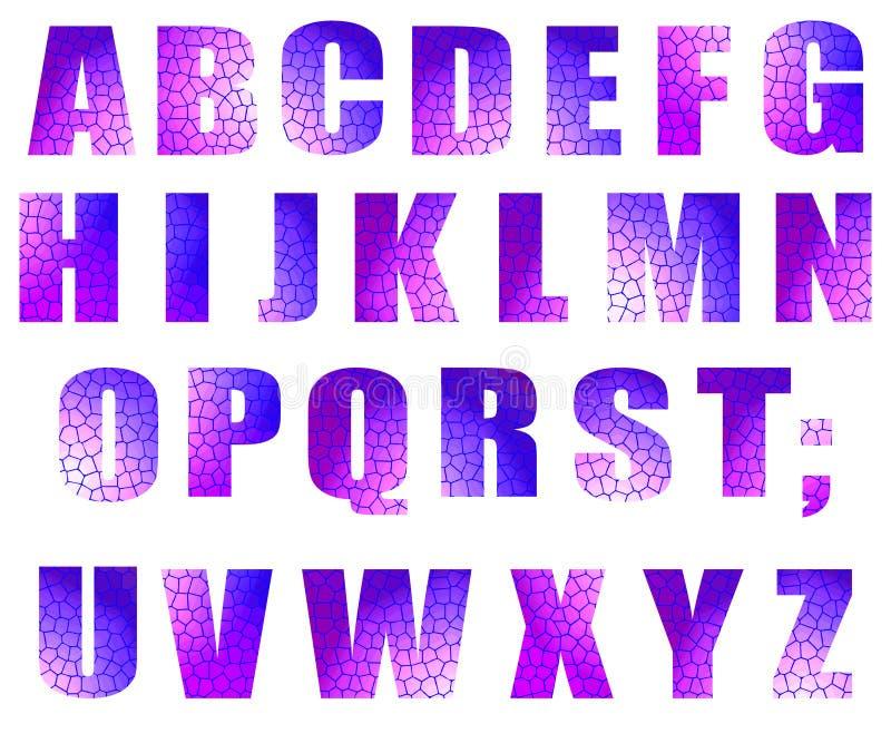 字体在白色隔绝的传染媒介模板:彩色玻璃信件 向量例证