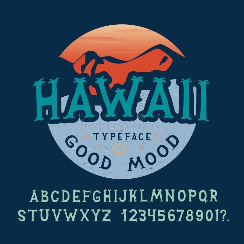 字体夏威夷 被制作的手 向量例证
