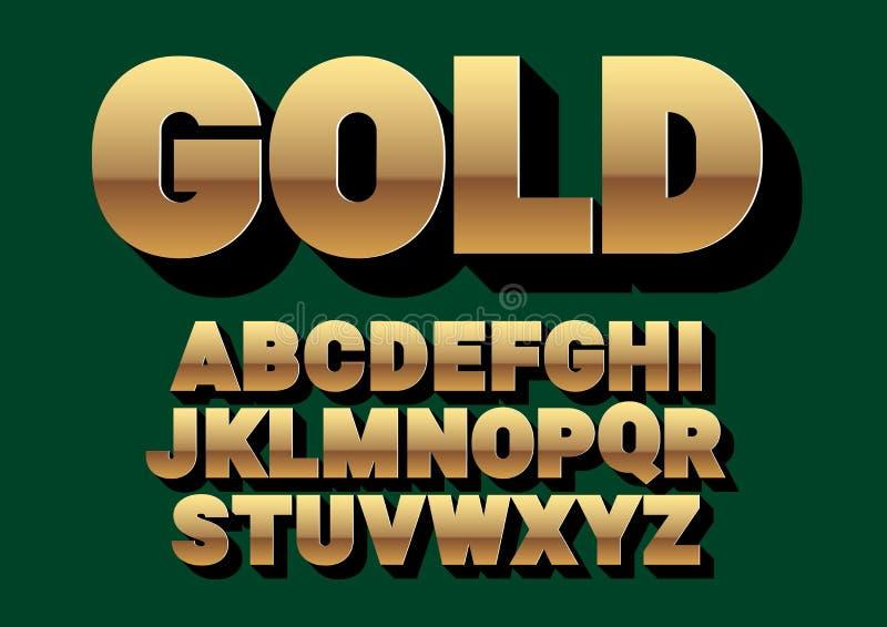 字体字母表 金子样式,与长的阴影的sanserif字体 向量例证