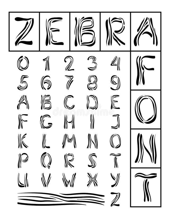 字体斑马 皇族释放例证