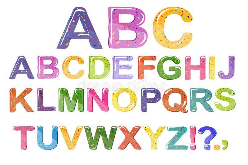 字体泡影动画片  孩子的五颜六色的3d果冻字母表 背景查出的白色 向量 皇族释放例证