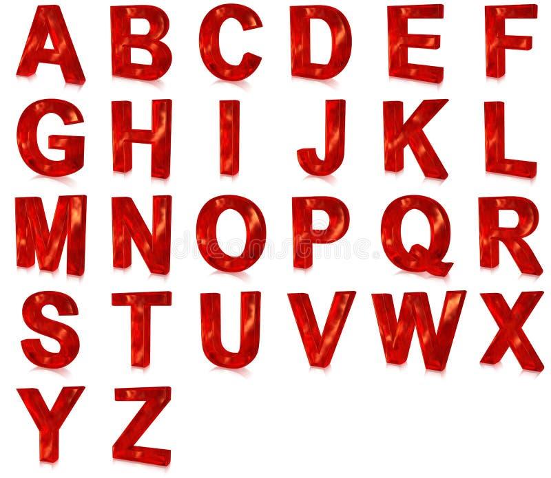 字体玻璃红色 向量例证