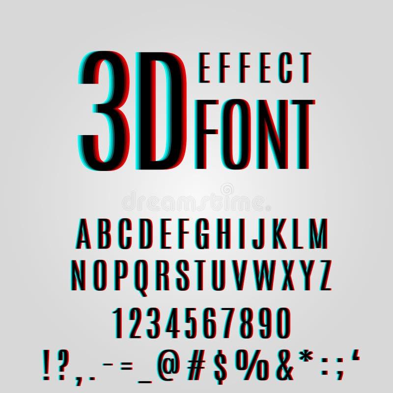 字体立体镜3d作用 库存例证