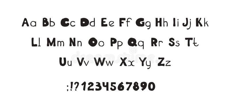 字体装饰手拉的ABC字法,大胆的信件 库存例证