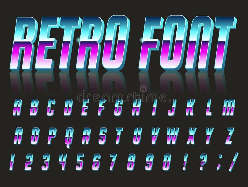 字体风格80 s 向量例证