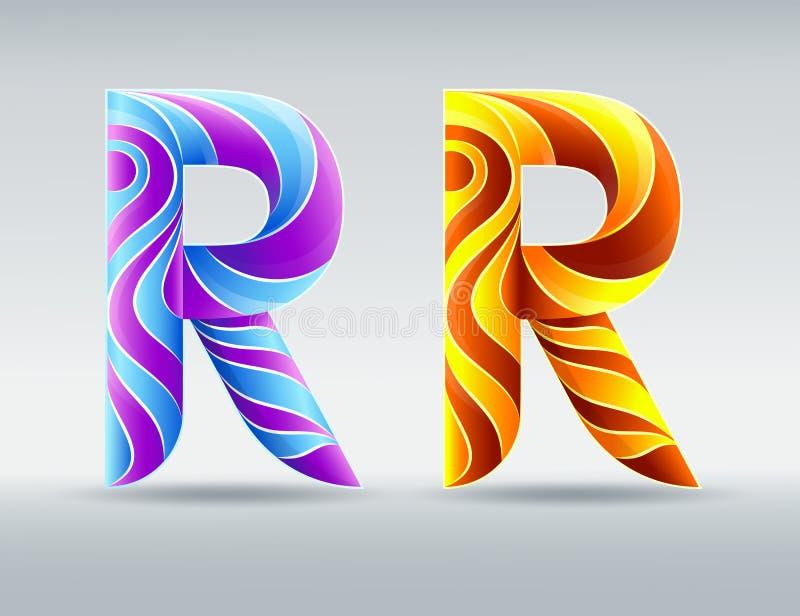 字体 五颜六色的创造性的信件R 抽象3D字体 焦糖和紫外颜色 皇族释放例证