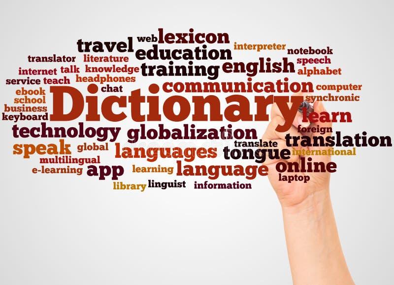 字典词云彩和手有标志概念的 库存照片