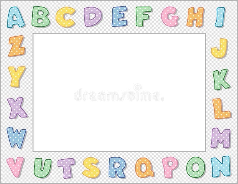 字母框、柔和的波尔卡点、白色方格边框、景观 向量例证
