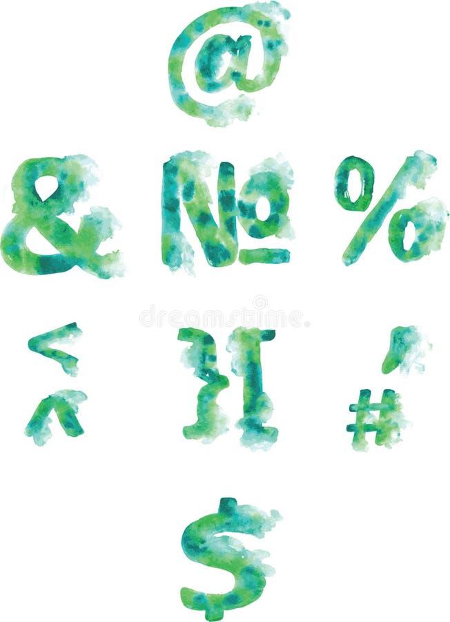 字母表、数字和标点,手画青绿色和 库存例证
