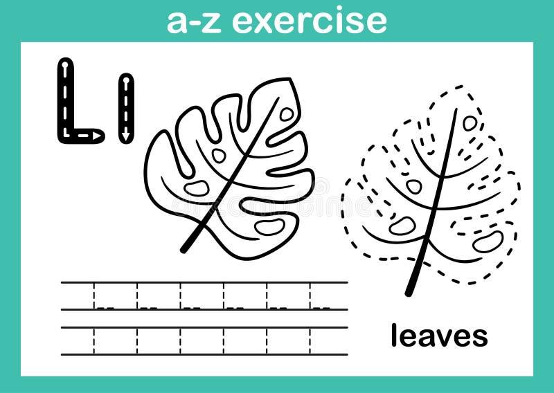 字母表与动画片词汇量的a-z锻炼彩图的 皇族释放例证