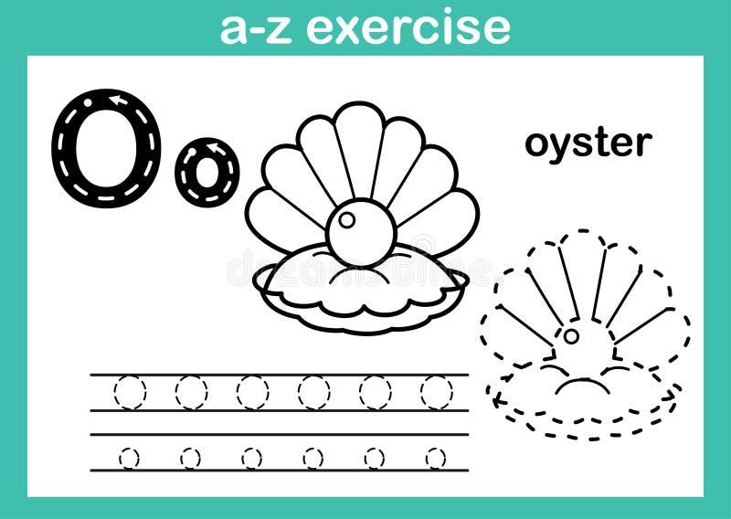 字母表与动画片词汇量的a-z锻炼彩图的 库存例证