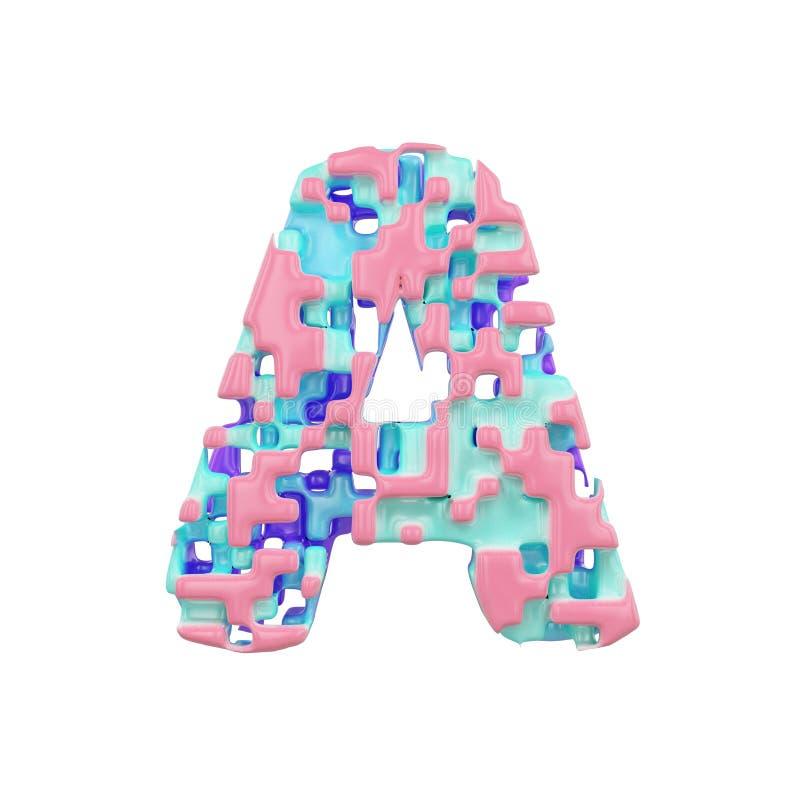 字母表信件A大写 几何字体由立方体块做成 3d在空白背景回报查出 库存例证