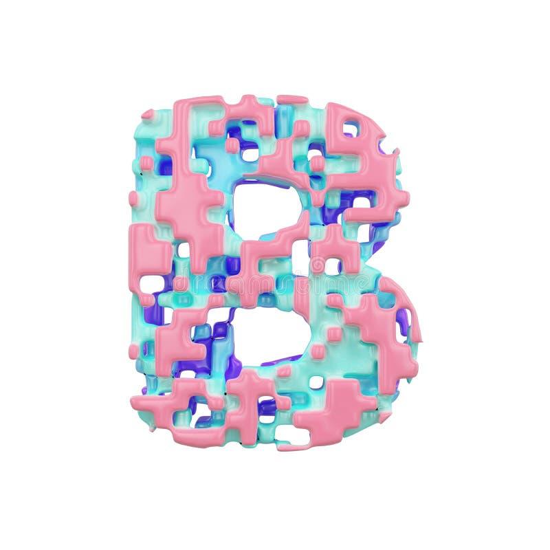 字母表信件B大写 几何字体由立方体块做成 3d在空白背景回报查出 库存例证