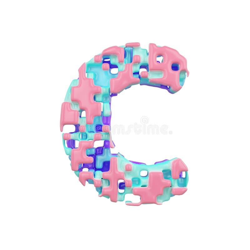 字母表信件C大写 几何字体由立方体块做成 3d在空白背景回报查出 皇族释放例证