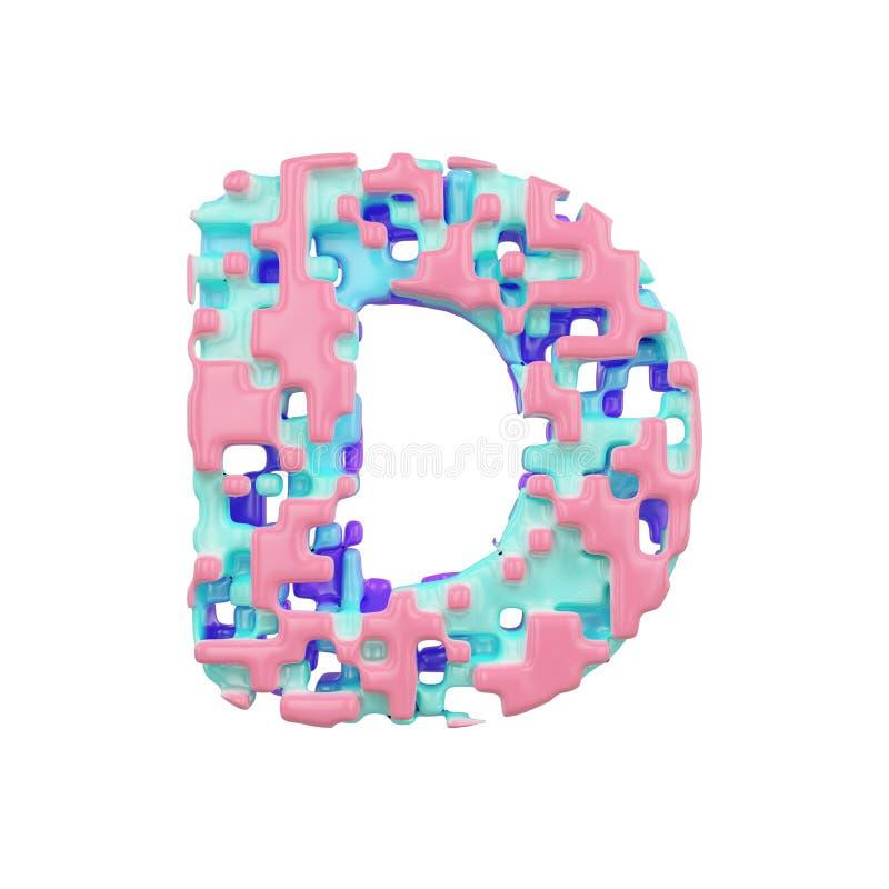 字母表信件D大写 几何字体由立方体块做成 3d在空白背景回报查出 皇族释放例证