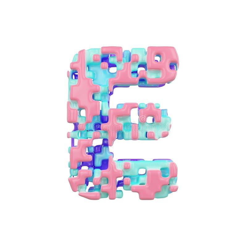 字母表信件E大写 几何字体由立方体块做成 3d在空白背景回报查出 库存例证