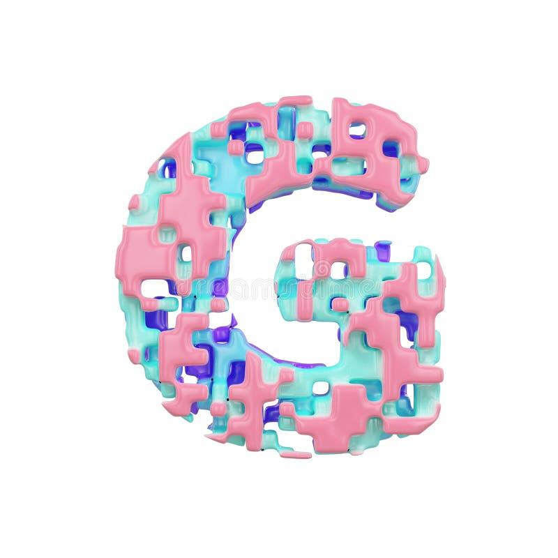 字母表信件G大写 几何字体由立方体块做成 3d在空白背景回报查出 库存例证