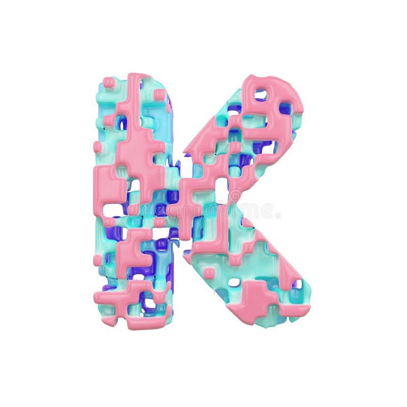 字母表信件K大写 几何字体由立方体块做成 3d在空白背景回报查出 向量例证