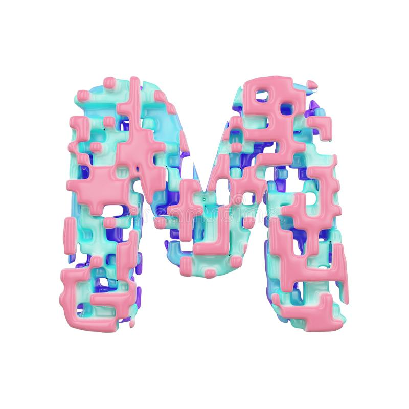 字母表信件M大写 几何字体由立方体块做成 3d在空白背景回报查出 皇族释放例证