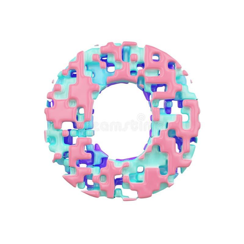 字母表信件O大写 几何字体由立方体块做成 3d在空白背景回报查出 向量例证
