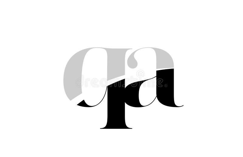 字母表信件qa q一个黑白商标象设计 库存例证