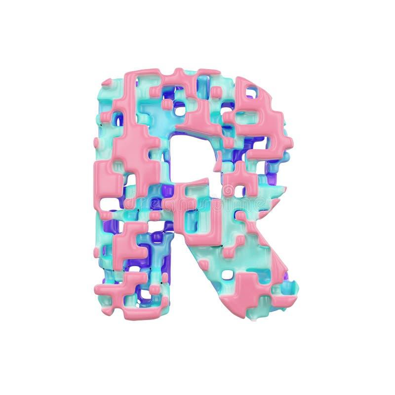 字母表信件R大写 几何字体由立方体块做成 3d在空白背景回报查出 库存例证