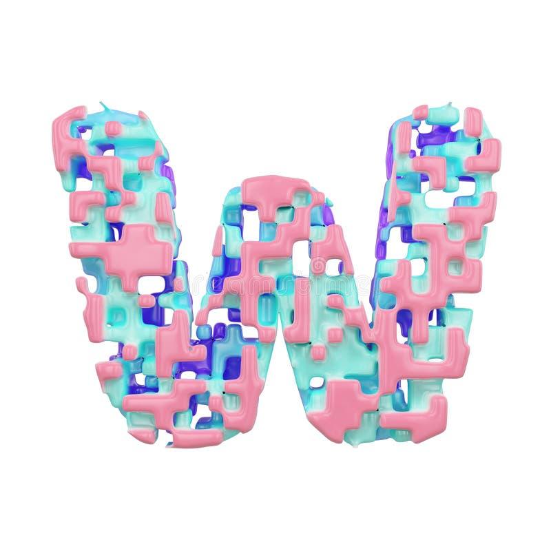 字母表信件W大写 几何字体由立方体块做成 3d在空白背景回报查出 向量例证