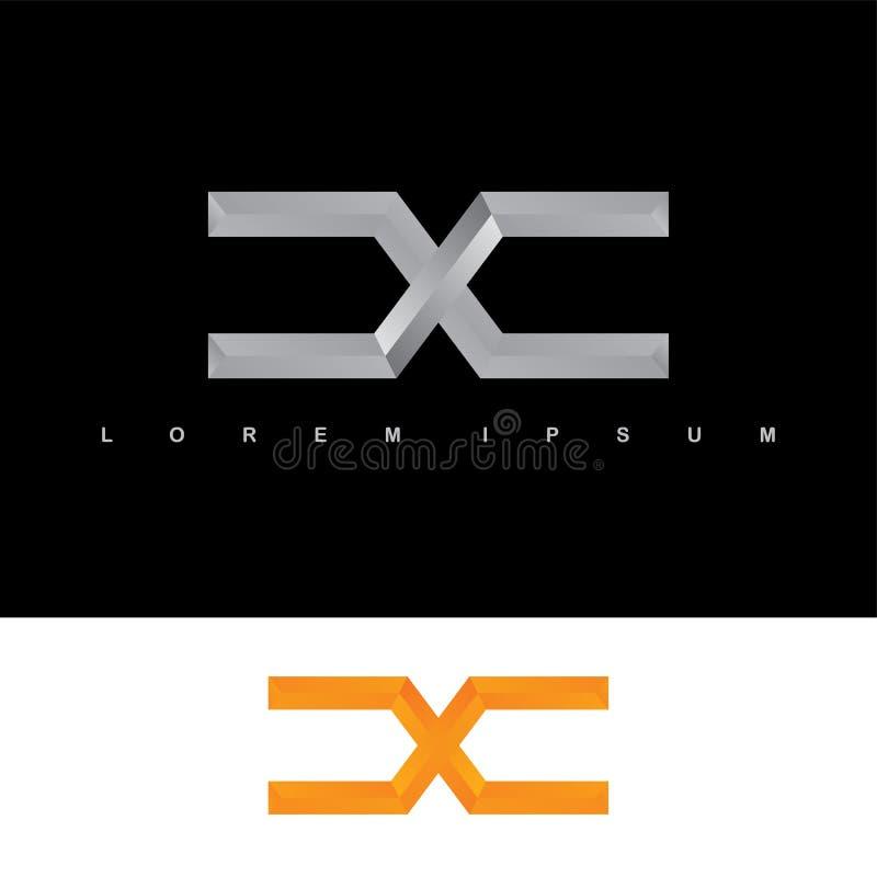 字母表信件x商标略写法金属钢模板 库存例证