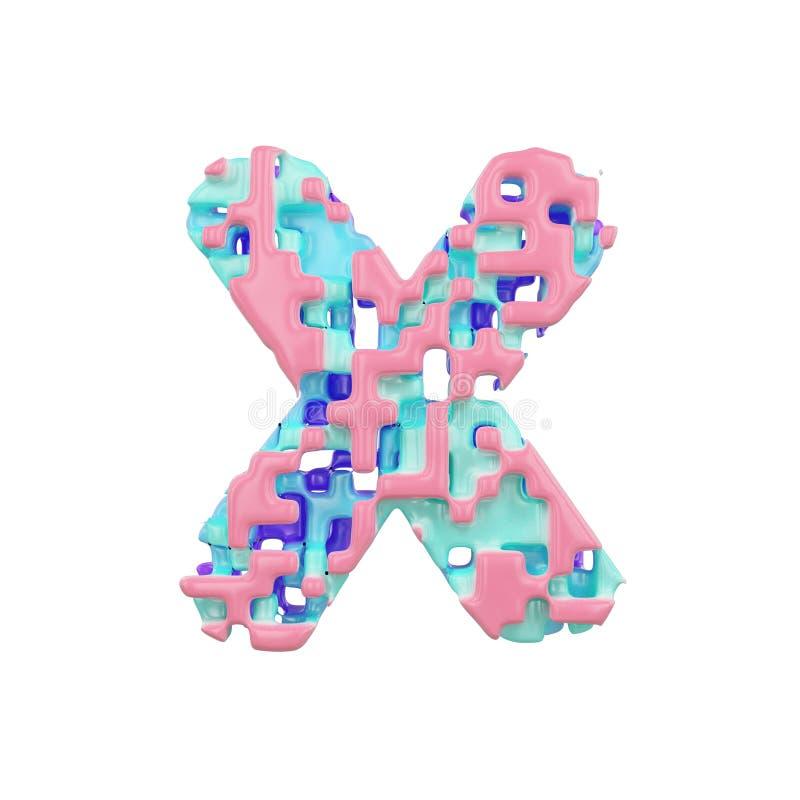 字母表信件x大写 几何字体由立方体块做成 3d在空白背景回报查出 皇族释放例证
