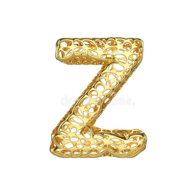 字母表信件Z大写 金字体由黄色多孔的框架制成 3d在空白背景回报查出 皇族释放例证