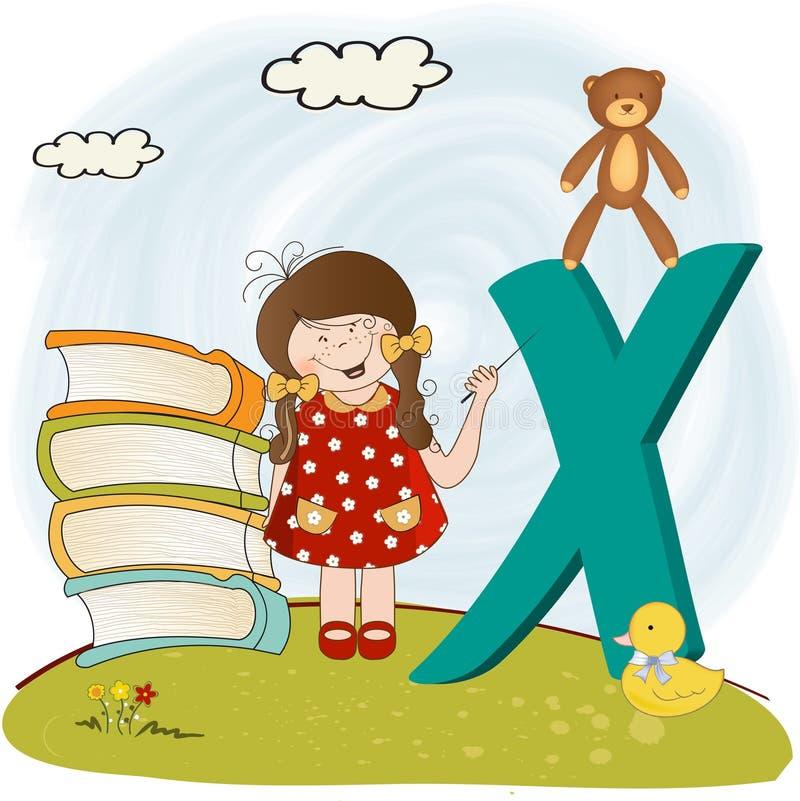 字母表儿童信函x 库存例证