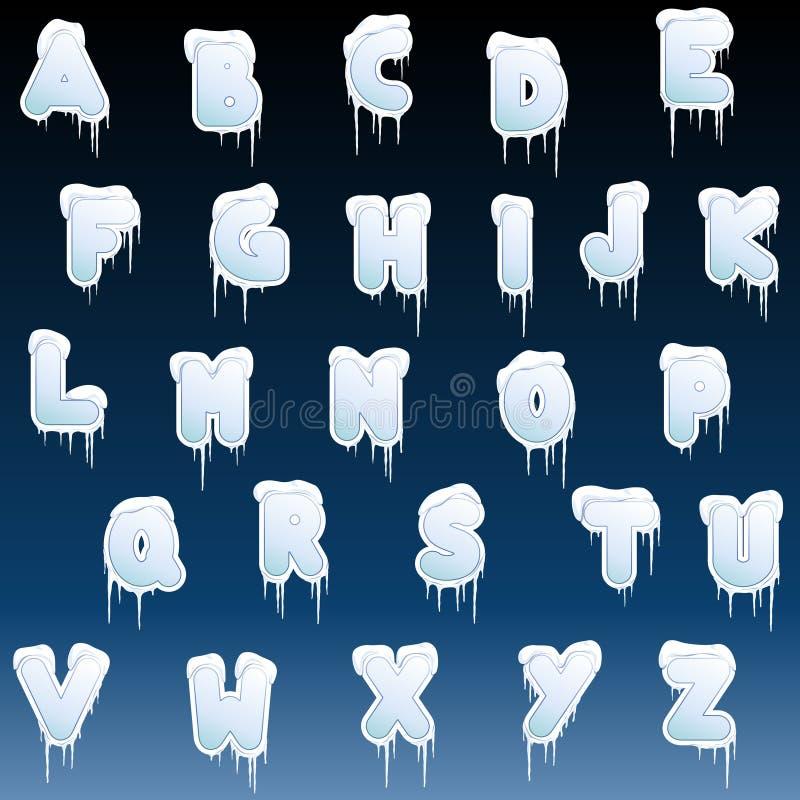 字母表冰柱冬天 库存例证