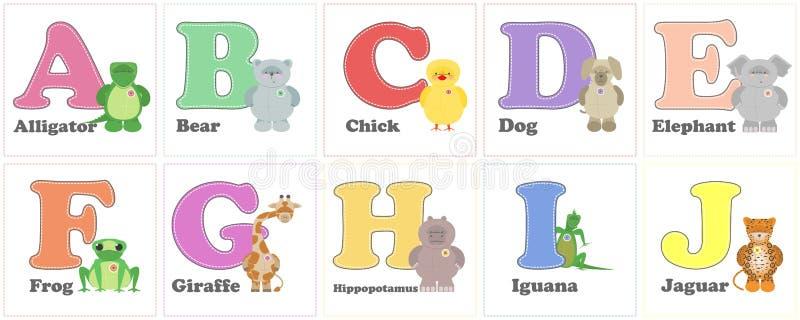 字母表动物园,滑稽的长毛绒动物 英语字母表信件从 向量例证