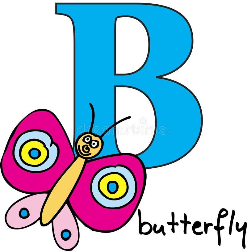 字母表动物b蝴蝶 库存例证