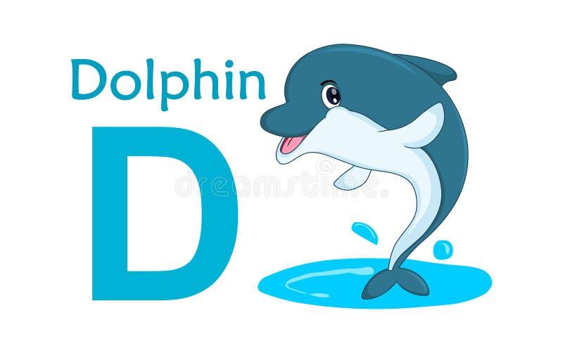 字母表动物d信函 海豚的彩图D 皇族释放例证