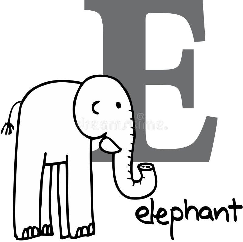字母表动物e大象 皇族释放例证