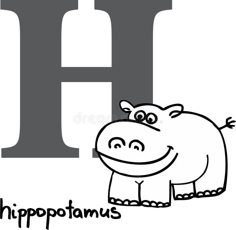 字母表动物h河马 皇族释放例证