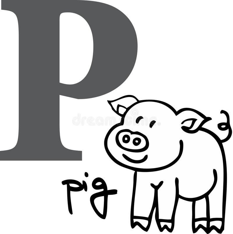 字母表动物p猪 向量例证