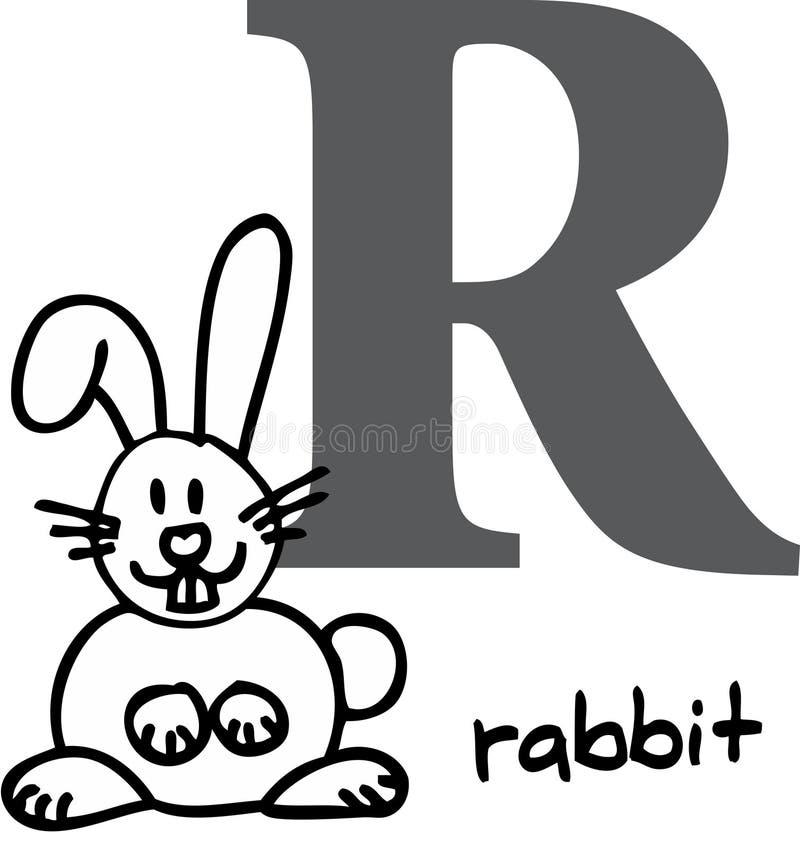 字母表动物r兔子 皇族释放例证