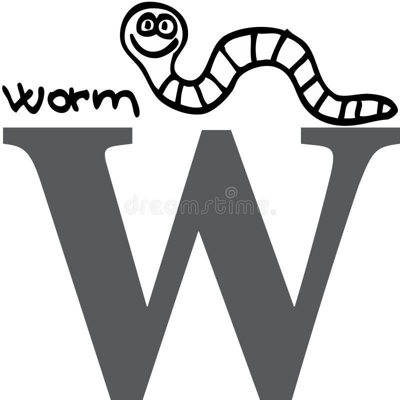 字母表动物w蠕虫 皇族释放例证