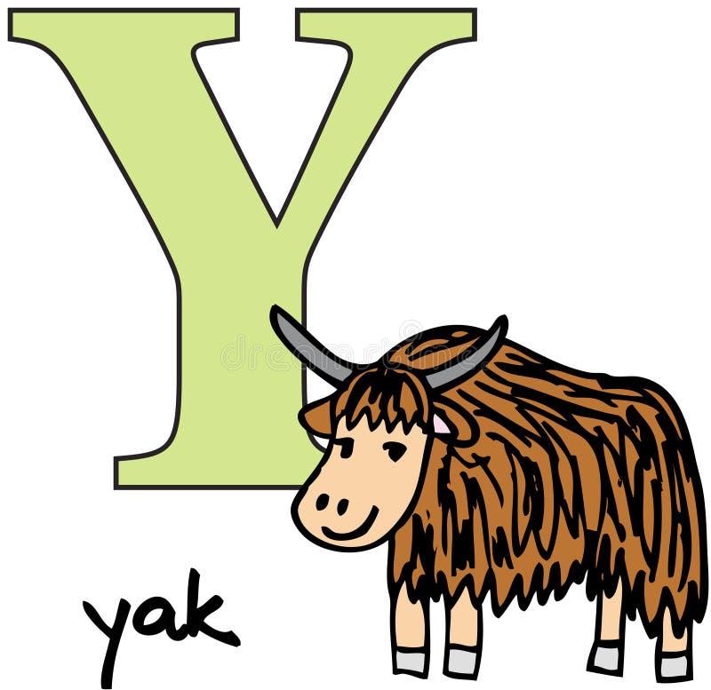 字母表动物y牦牛 向量例证