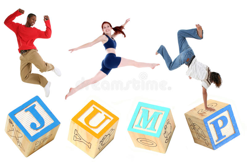 字母表块跳跳的人员 图库摄影